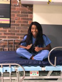 Taking a break on a hospital bed