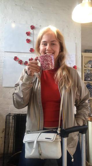 Evie enjoy tea at the Potteries