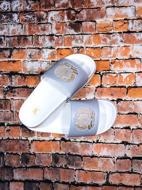 FB Grey/White Slides