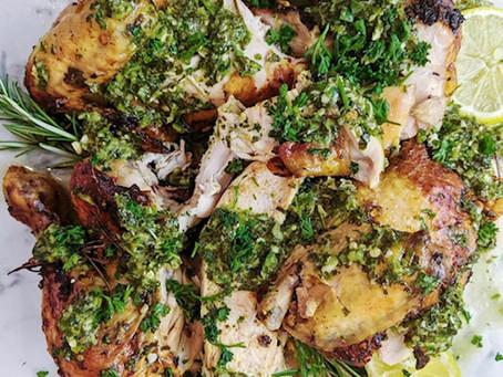 Homemade Lemon, Garlic and Herb Roast Chicken with Chimichurri