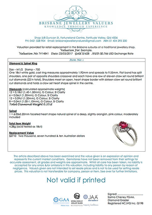 Jewellery Valuation Document