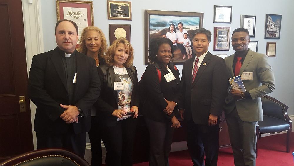 Sedrick and other LIRS participants with Juan Vargas, US Representative (CA).