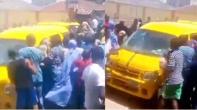 The picture with the yellow bus shows poor Nigerians stealing loaves of bread meant to be delivered to vendors for sale. Sourced by Newszander.