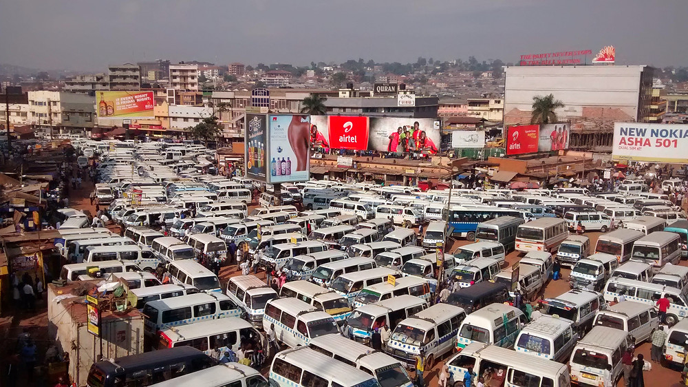 Busy downtown Kampala bus station