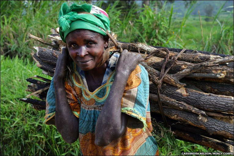 Photo by BBC News. Conglolese woman transporting firewood for cooking.