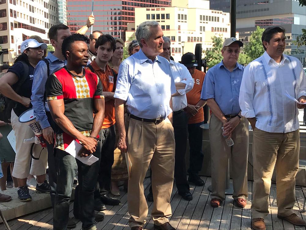 With representative Dogget, Austin major Steve Alder and Council member.