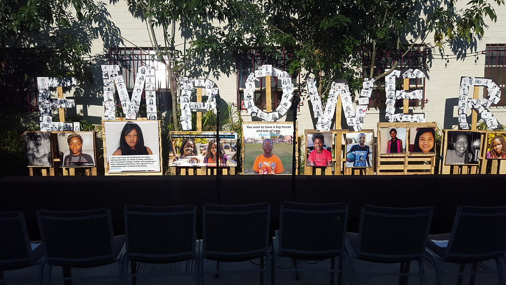 a visual display at World Refugee Day in San Diego, CA.