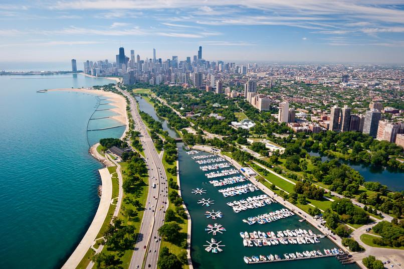 Diversey Harbor aerial view