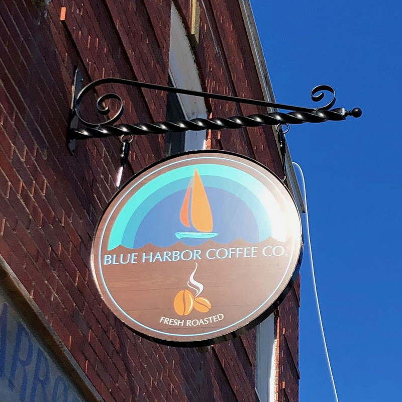 Blue Harbor Coffee Hanging Sign