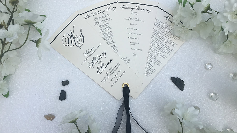 Classic Rectangle Wedding Programs 4 Petals with Ribbons