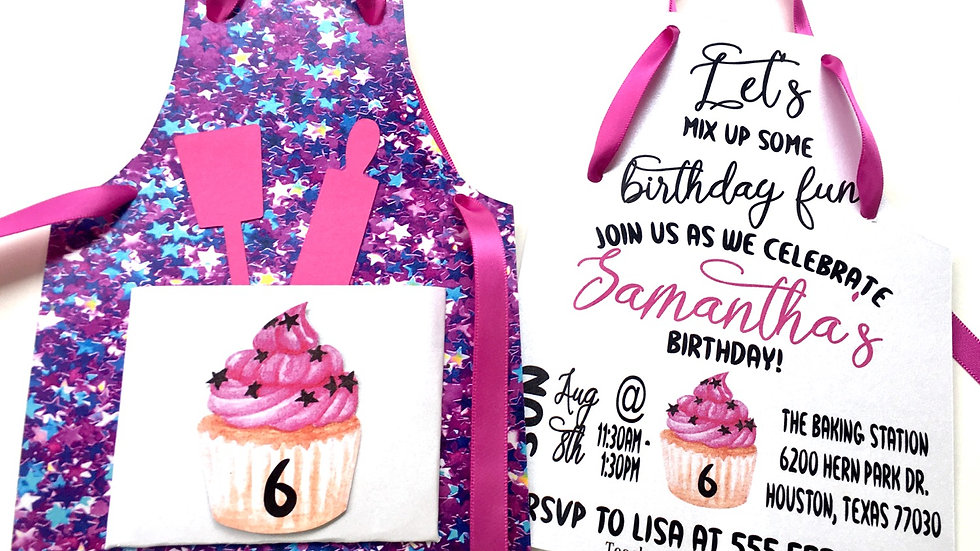 Baking Party Invitations, Apron Style Invitations, Cooking Party