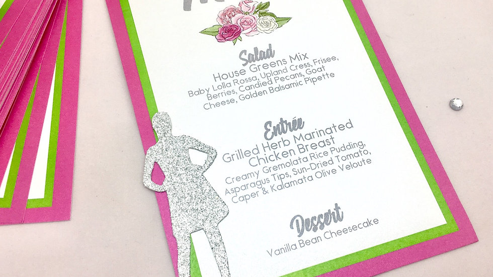 Pink and Green Women's Event Menu with Glitter Silhouette