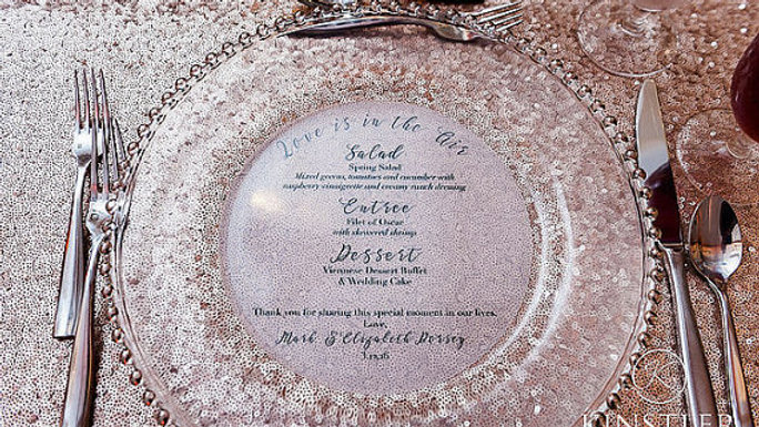 Love Is In The Air Vellum Menu Rounds