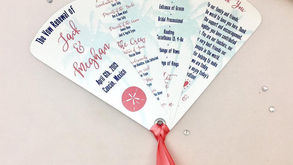 Tropical Getaway Wedding Programs - 4 Petals With Ribbon