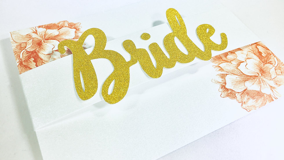 BRIDE Glitter Floral Stationery Cards