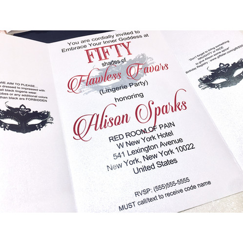 50 Shades Of Grey Inspired Invitations With Belly Bands