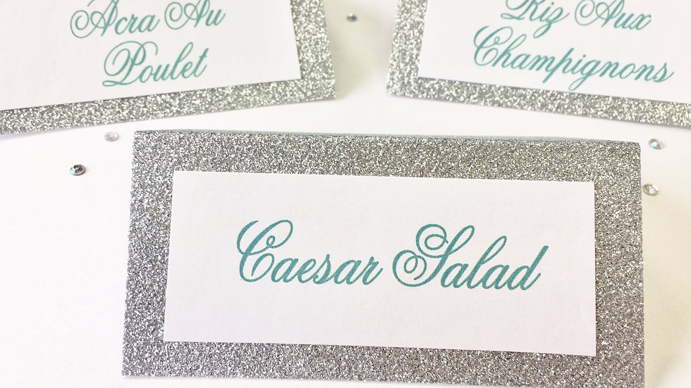 Tent Style Food Cards with Glitter Cardstock