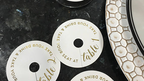 Gold Foil Wine Glass Tags • Set of 6