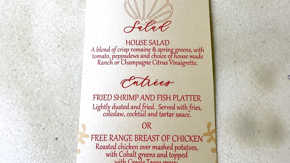 Beach Inspired Rectangular Menus or Program Cards