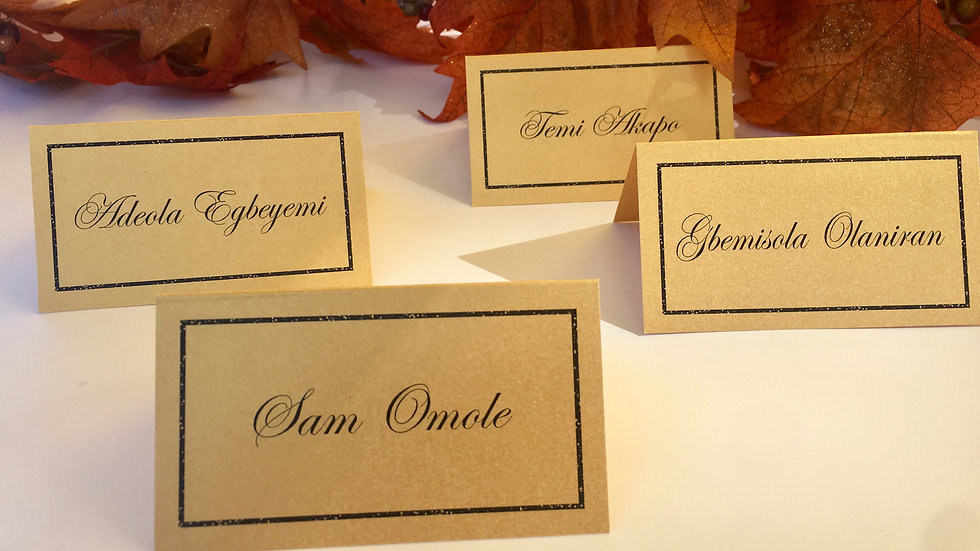 Escort/Place Cards with Simulated Black and Silver Glitter Border