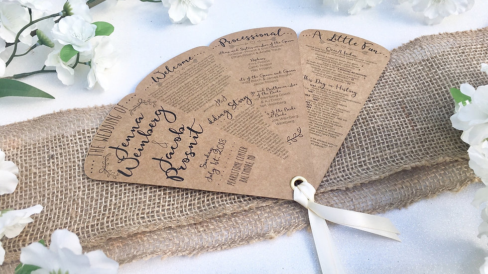 Rustic Country Wedding Fan Programs - 4 Petals with Ribbons