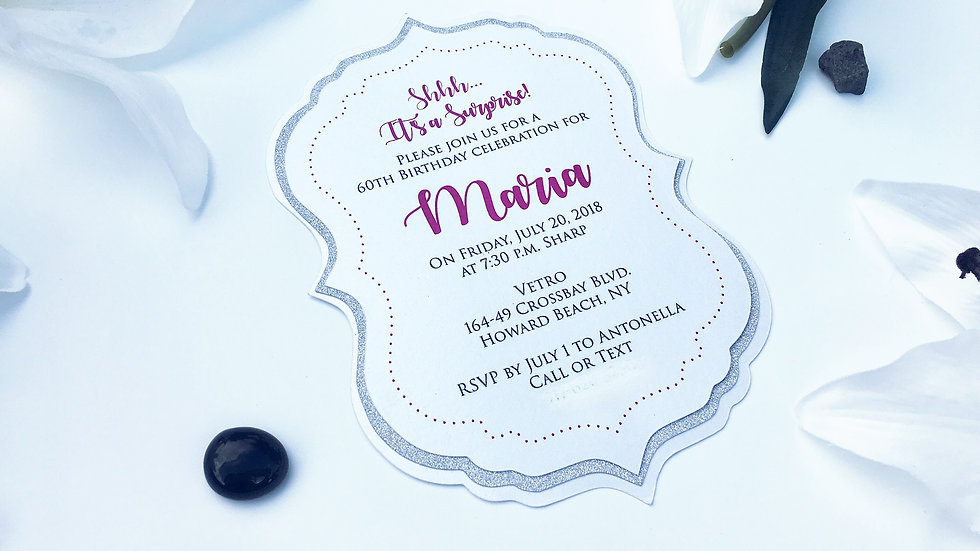 3 Layered Fancy Frame Glitter Invitations