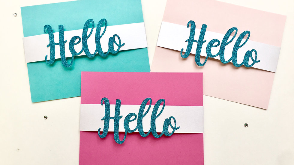 HELLO Glitter Stationery Cards