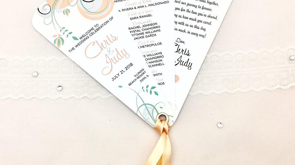 Majestic Swirl Wedding Programs - 3 Petals With Ribbon