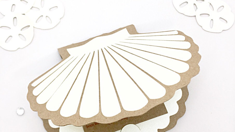 Seashell Shaped Invitations with Sand Dollar Die Cuts and Card Insert