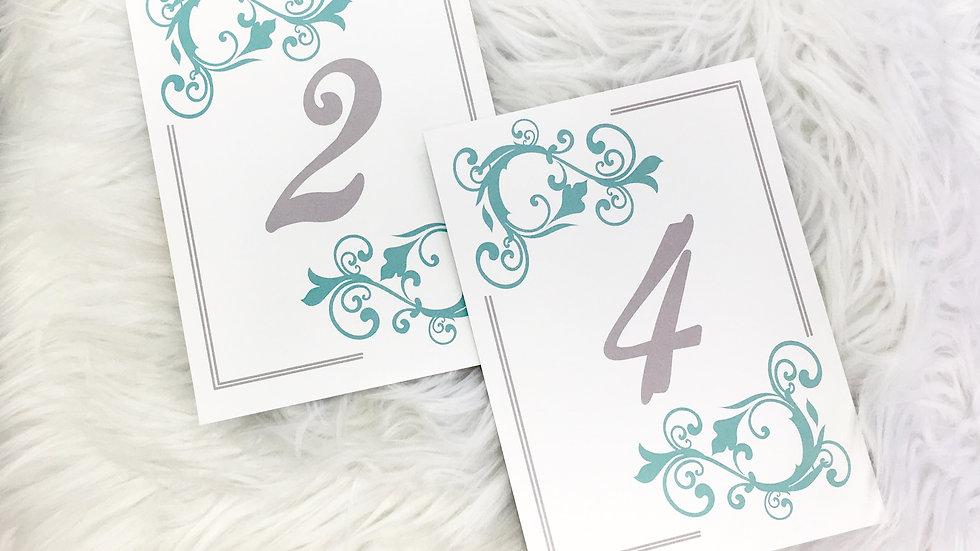 Table Numbers - Tiffany Blue Flourish Design
