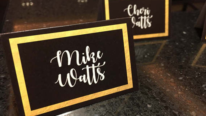 Black Escort/Place Cards with Simulated Metallic Gold Border