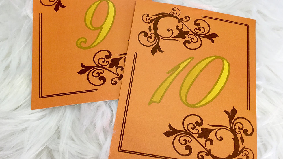 Table Numbers - Autumn Time Flourish Design