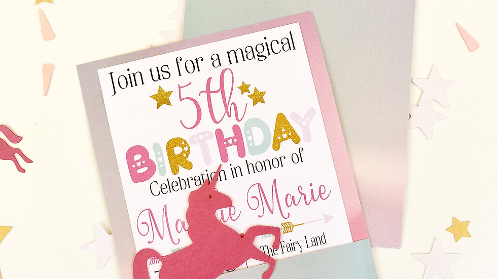 Magical Unicorn Birthday Pocket Invitations