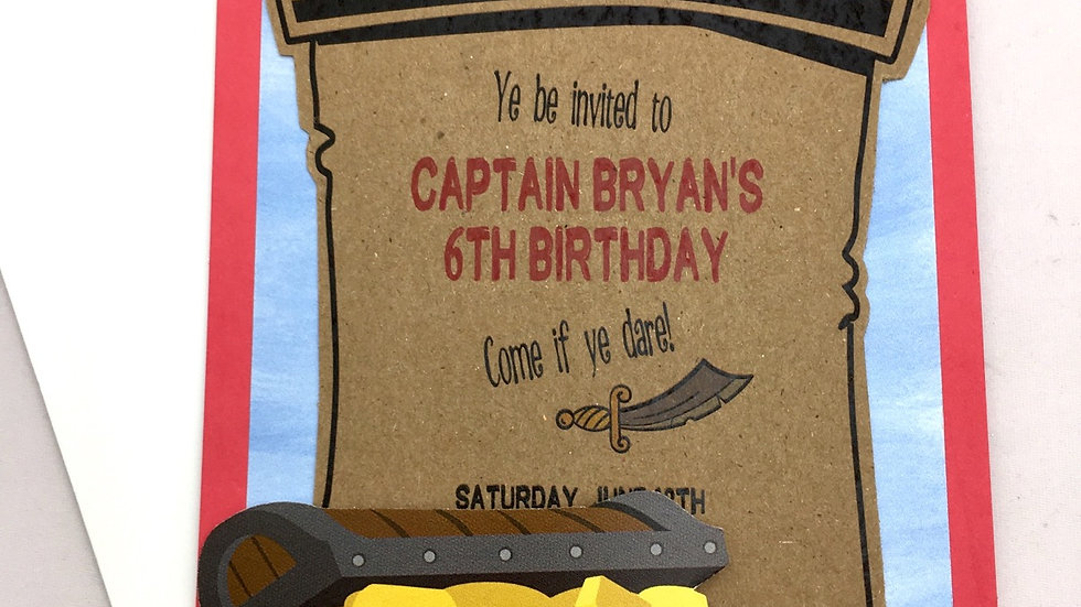 Pirate Themed Pocket Style Invitations