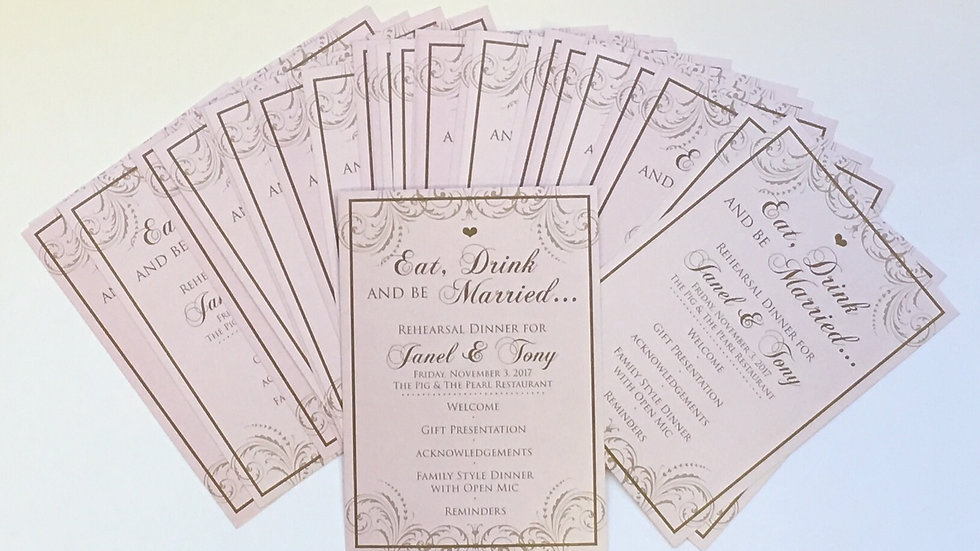 Rectangular Menus or Program Cards