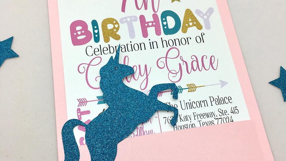 Magical Glitter Unicorn Birthday Pocket Invitations