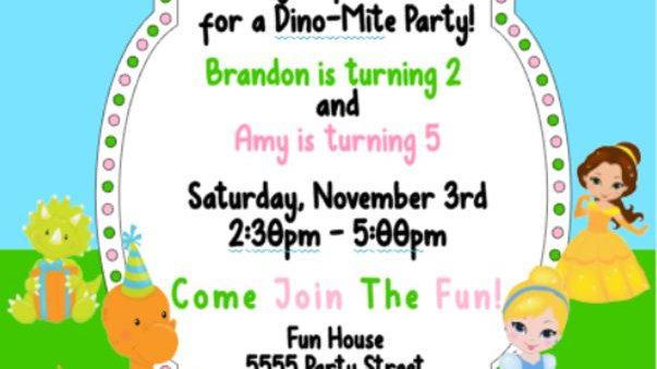 Princess and Dino-Mite Party Invites