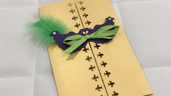 New Orleans Themed Masquerade Party Invitations