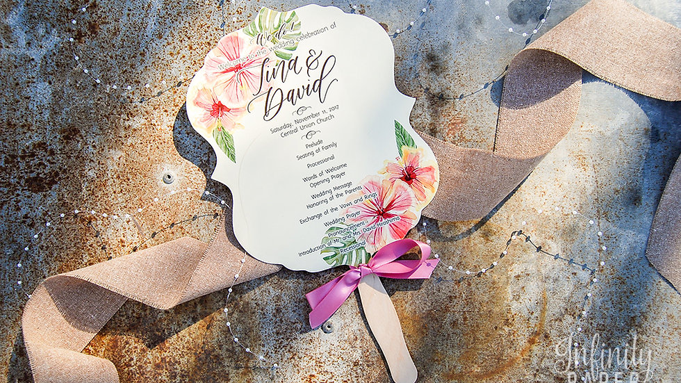 Tropical Beauty Collection Paddle Fans with Ribbon