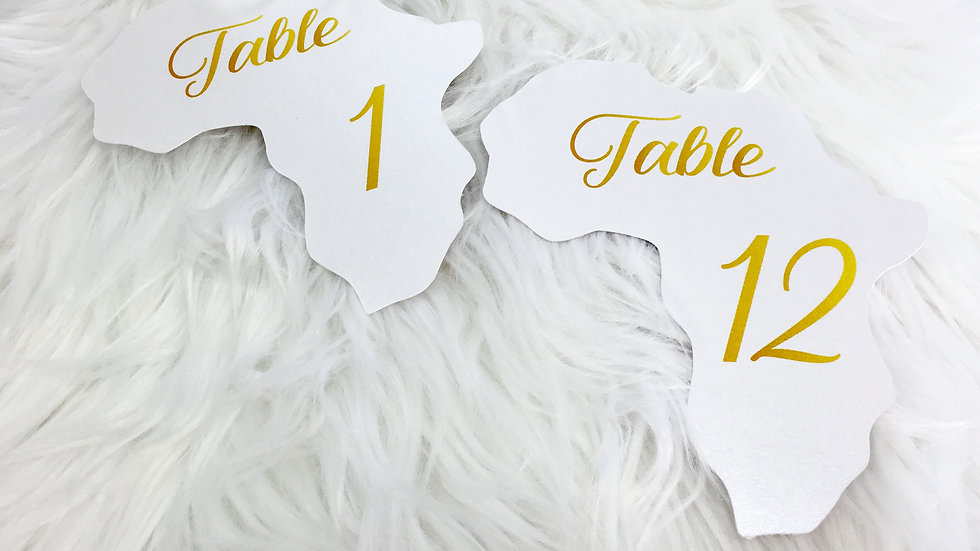 Africa Shaped Table Numbers