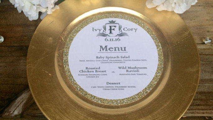 "Gold Glitter ""Faux"" Design Round Menu"
