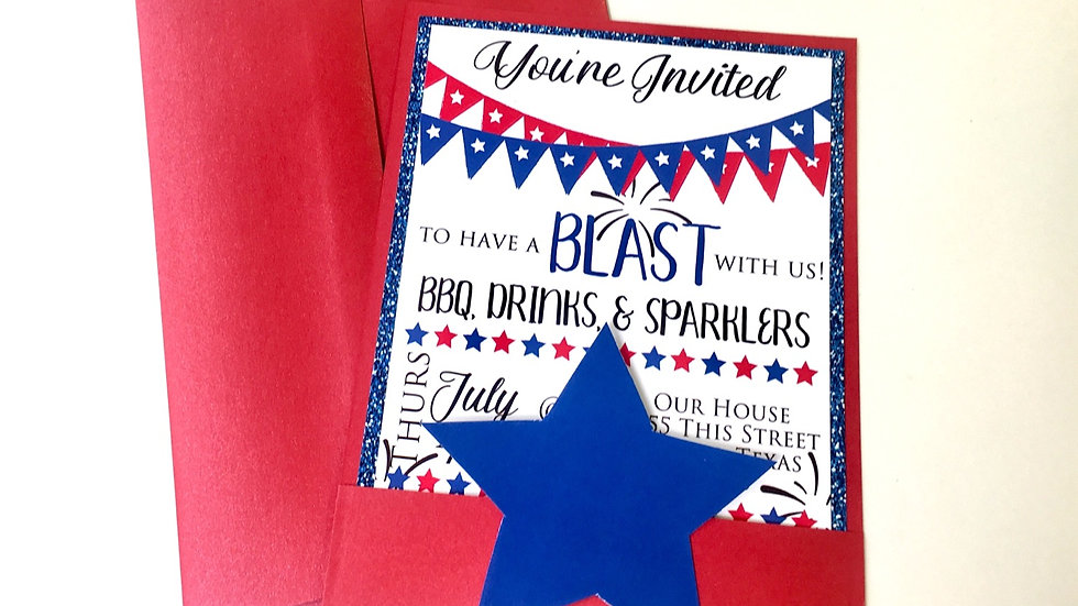 4th of July Themed Pocket Style Invitations