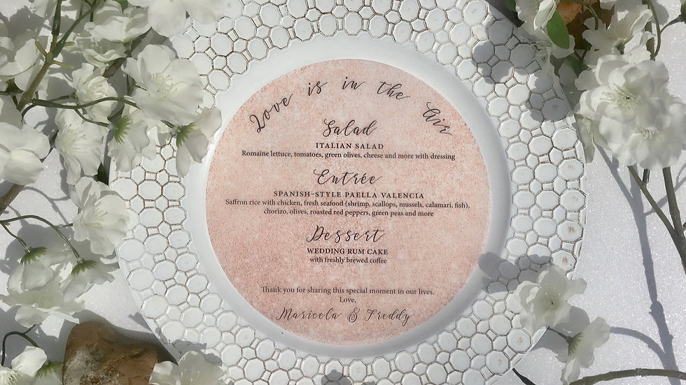 Rose Gold Simulated Design Vellum Menus