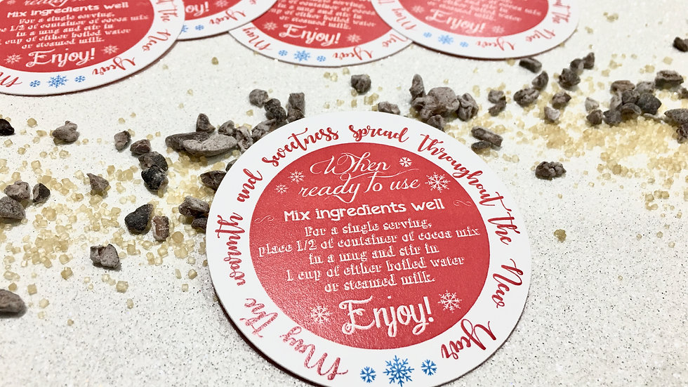"Hot Cocoa ""Red"" Labels • Tags or Sticker Labels"