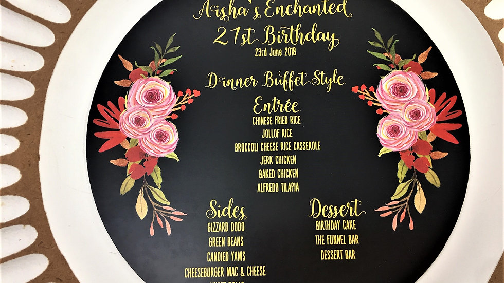 Enchanted Themed Pink and Black Menu Cards