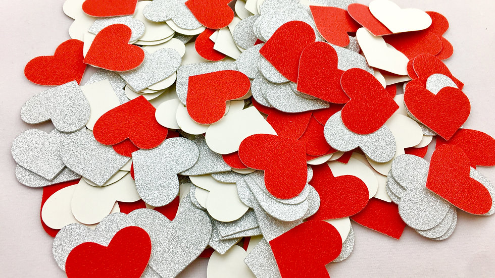 Glitter Heart Confetti (Red and Silver Glitter) - 200 pieces
