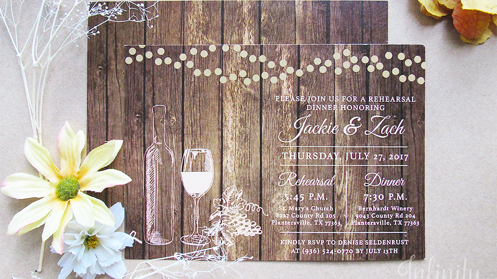 Lighted Barnwood Collection - String Lights and Rustic Country Invitations