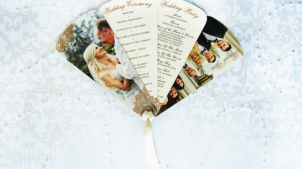 Opulent Lace Collection Fan Programs, 4 Petals with Ribbon Detail