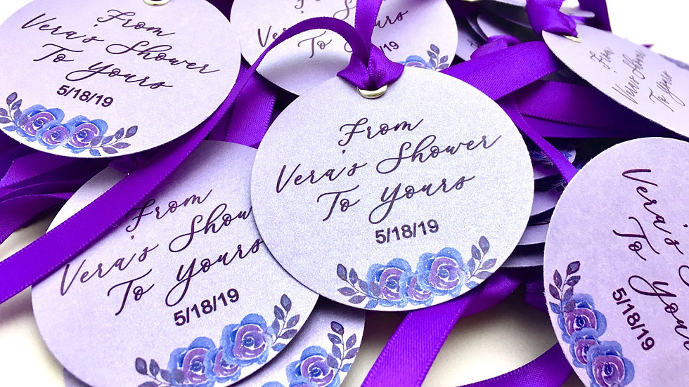 "2.5 "" Round Tags With Ribbons - Customize your own! Set of 10"