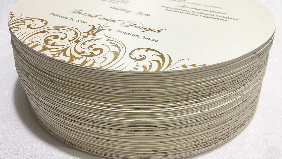 Opulent Lace Collection - Menu/Thank You Charger Inserts